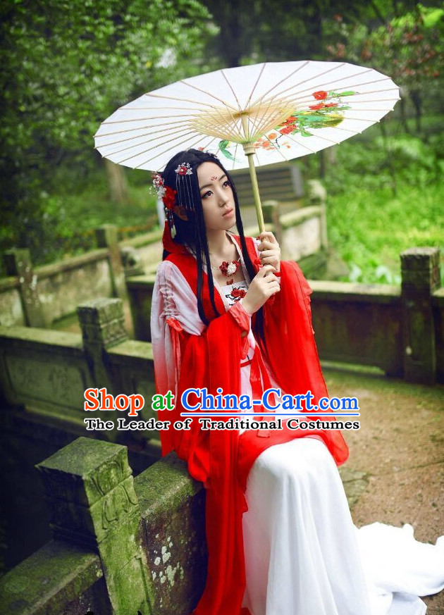 Top Chinese Ancient Red Princess Costume and Hair Accessories Complete Set