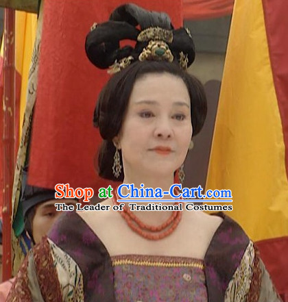 the Tang Dynasty Hairstyles Palace Queen Black Wigs and Hair Accessories for Women or Girls