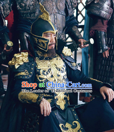 Asian Chinese Emperor King General Body Armor Costumes and Coronet Complete Set