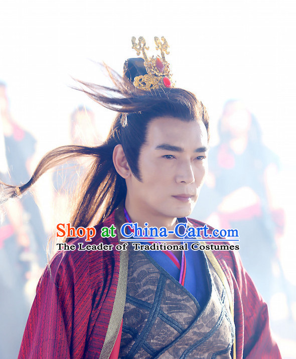 Ancient Chinese Fashion Black Long Wigs and Hair Accessory for Men or Boys