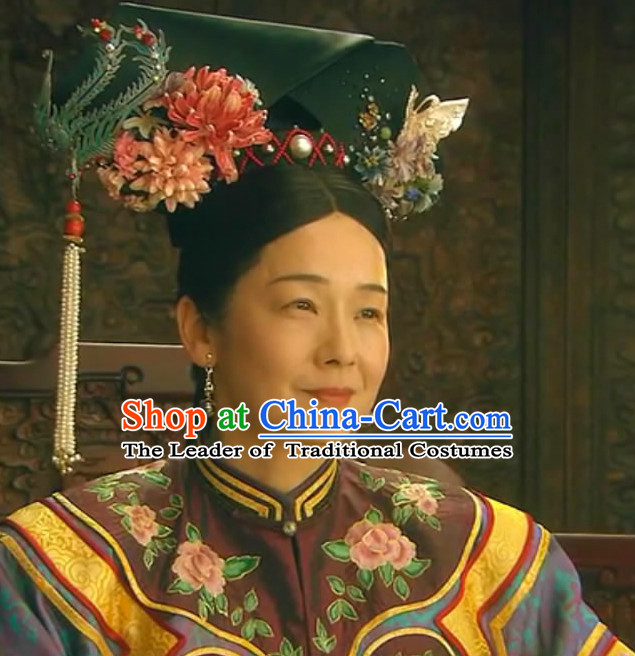 Qing Dynasty Traditional Chinese Imperial Palace Traditional Queen Hat Headwear Headgear Hair Accessories Headdress for Women Girls