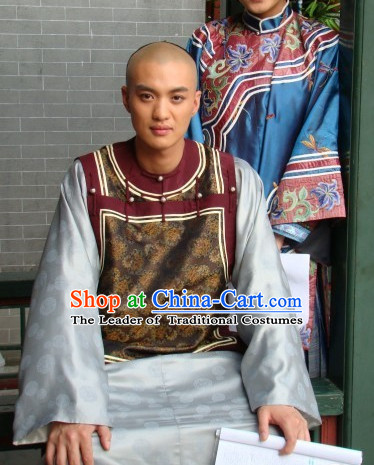 Qing Chinese Style Authentic Prince Clothes Culture Costume Han Dresses Traditional National Dress Clothing and Headwear Complete Set for Men Boys