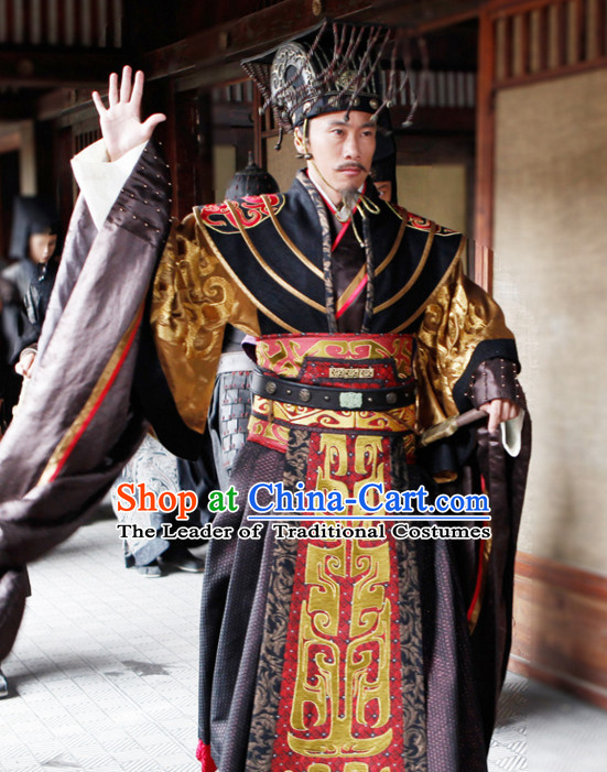 Ancient Chinese Style Emperor Long Robe Dress Authentic Clothes Culture Costume Han Dresses Traditional National Dress Clothing and Headwear Complete Set for Men