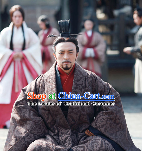 Ancient Chinese Style Minister Dress Authentic Clothes Culture Costume Han Dresses Traditional National Dress Clothing and Headwear Complete Set for Men