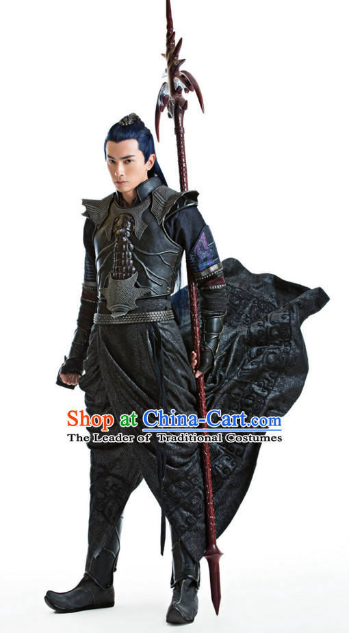 Ancient Chinese Style Superhero Armor Costumes Dress Authentic Clothes Culture Han Dresses Traditional National Dress Clothing and Headdress Complete Set