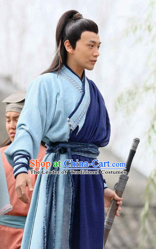 Ancient Chinese Style Swordsman Clothing Complete Set for Men Boys