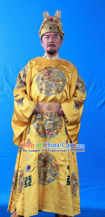 Ancient Chinese Style Emperor Costumes and Hat Complete Set for Men Boys