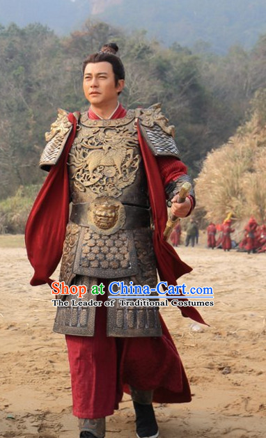 Traditional Chinese Ancient Samural Body Armor Men Suit Complete Set