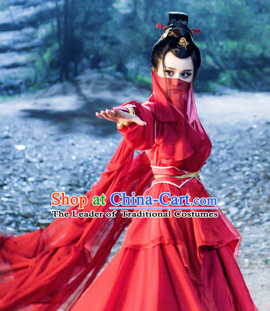 Traditional Chinese Ancient Female Fighter Costumes Complete Set