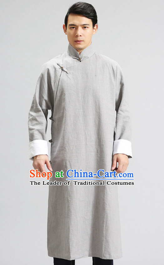 Long Minguo Style Male Mandarin Robe for Men or Boys