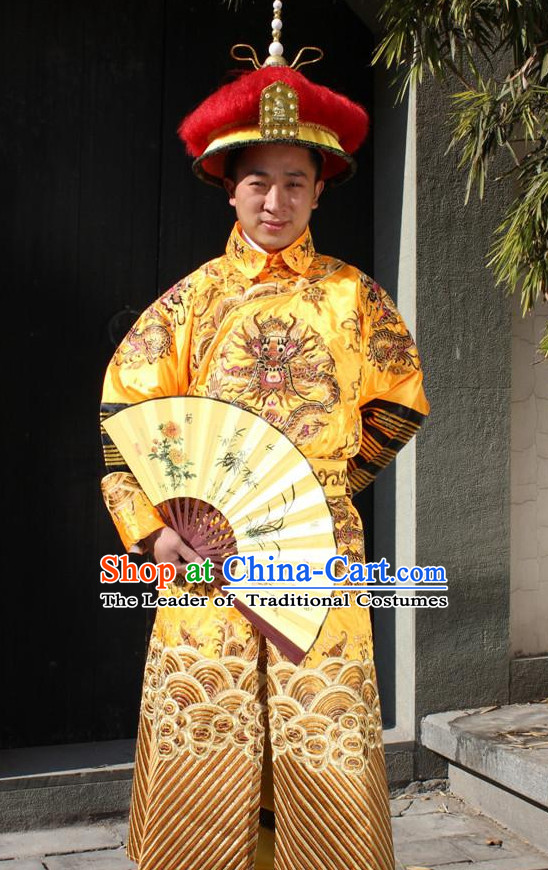 Chinese Emperor Embroidered Dragon Robe for Men