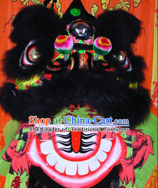 Supreme Chinese 100% Natural Long Wool Fut San Lion Dance Costumes Complete Set