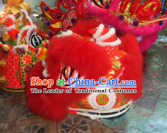 Top Red 2008 Beijing Olympic Chinese Classical 100% Natural Long Wool Lion Dance Costumes Complete Set