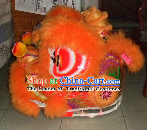 Top Orange Chinese Classic 100% Natural Long Wool Fut San Style Lion Dance Costumes Complete Set