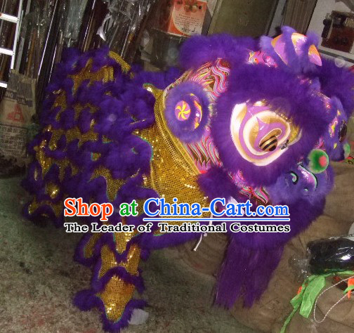 Top Purple Chinese Traditional 100% Natural Long Futsan Style Lion Dance Costumes Complete Set