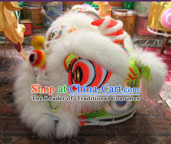 Top White 100% Natural Long Wool Chinese Traditional Futsan Style Lion Dancing Uniform Complete Set