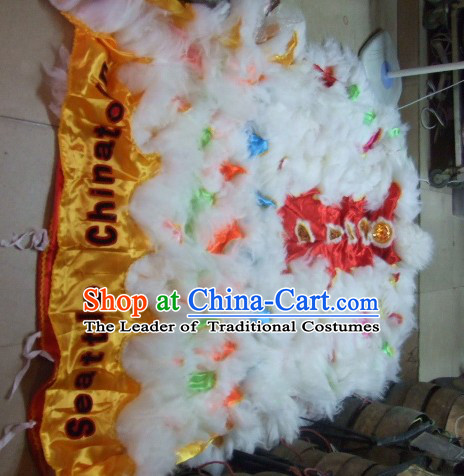 Chinese Traditional 100_ Natural Long Wool Lion Dancing Tail Pants Claws Set