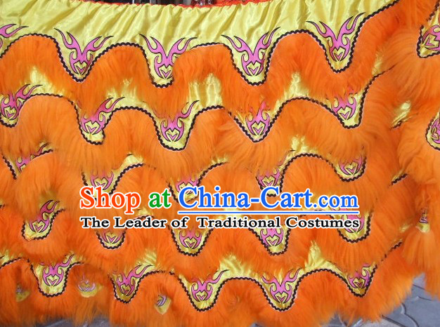 Chinese Traditional 100% Natural Long Wool Lion Dancing Embroidered Body Costumes Pants Claws Set