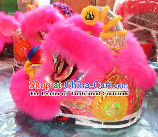 Supreme Long Wool Ancient Chinese Traditional Lion Dance Costumes Complete Set
