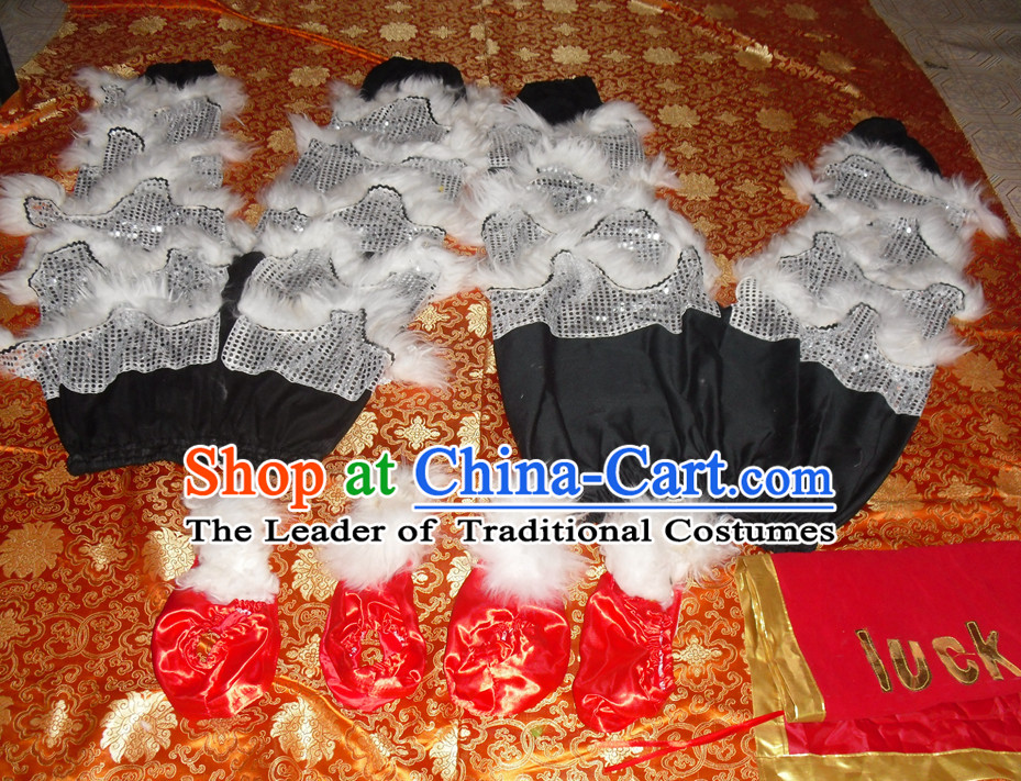 White Wool Top Asian Chinese Lion Dance Troupe Performance Suppliers 2 Pairs of Pants and Claws