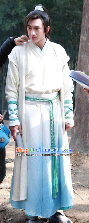 Ancient Chinese Young Men Male Hanfu Clothes Garments and Hat Complete Set