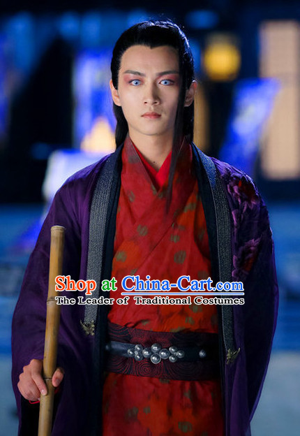 Ancient Chinese Dong Fang Bu Bai Unbeaten Kung Fu Master Clothes Costumes Complete Set for Men