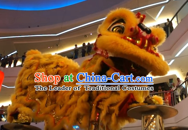 Chinese Classical Style Red Hok San Lion Dance Equipments Complete Set