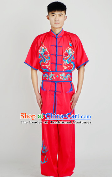 Chinese Traditional Style Martial Arts Summer Wear Kung Fu Gongfu Wushu Embroidered Phoenix Uniforms for Men Women Children