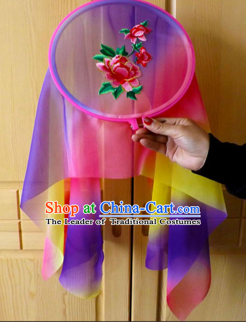 Ancient Chinese Style Embroidered Flower Long Ribbon Dance Fan Dancing Fans
