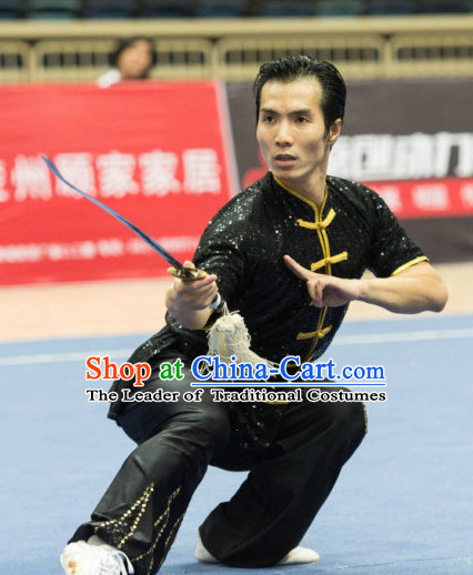 Top Black Kung Fu Competition Championship Uniforms Pants Suit Taekwondo Apparel Karate Suits Attire Robe Championship Costume Chinese Kungfu Jacket Wear Dress Uniform Clothing Taijiquan Shaolin Chi Gong Taichi Suits for Men Women Kids