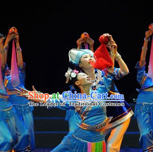 Chinese Traditional Ethnic Dance Dress Dancewear Costumes Dancer Costumes Dance Costumes Chinese Dance Clothes Traditional Chinese Clothes Complete Set for Kids
