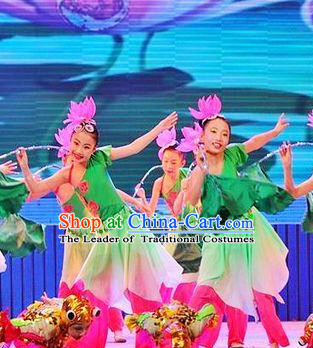 Chinese Stage Dancing Dancewear Lotus Costumes Dancer Costumes Dance Costumes Chinese Dance Clothes Traditional Chinese Clothes Complete Set for Women Kids