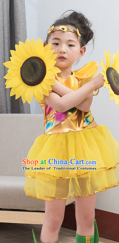 Chinese Traditional Stage Sunflower Dance Dancewear Costumes Dancer Costumes Dance Costumes Clothes and Headdress Complete Set for Children