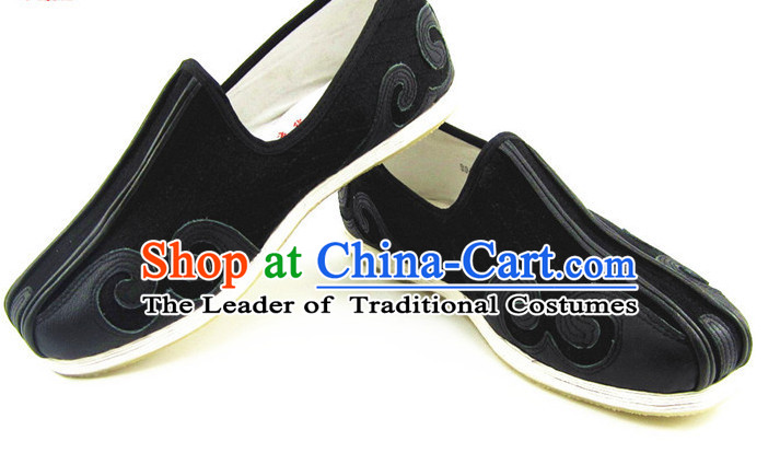 Top Black Chinese Traditional Tai Chi Shoes Kung Fu Shoes Martial Arts Auspicious Cloud Shoes for Men or Women