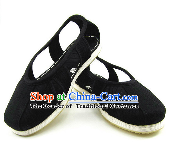 Top Chinese Classic Traditional Tai Chi Shoes Kung Fu Shoes Martial Arts Black Shaolin Shoes for Men