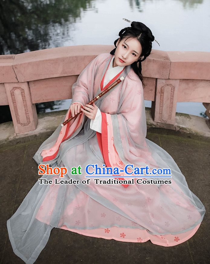 Traditional Asian Chinese Female Han Clothing Garment Hanfu Clothes Complete Set