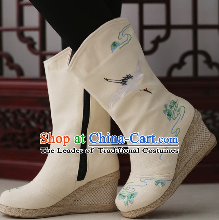 Chinese Ancient Style High Heel Embroidered Boots