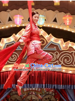 Chinese Folk Han Ethnic Mandarin Dance Ribbon Costumes Complete Set for Women