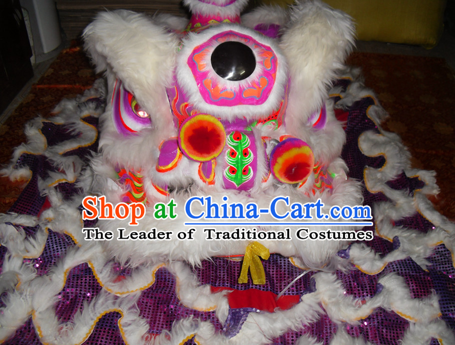 Top Puprle Color White Wool Competition and Parade Lion Dancing Instruments Complete Set