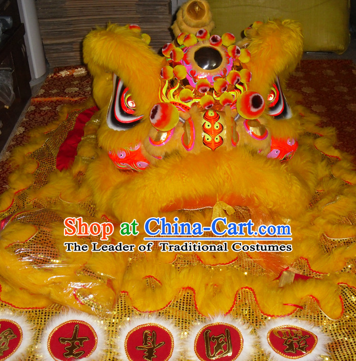 Top Gold Color Competition and Parade Hok San Lion Dancing Costume Complete Set