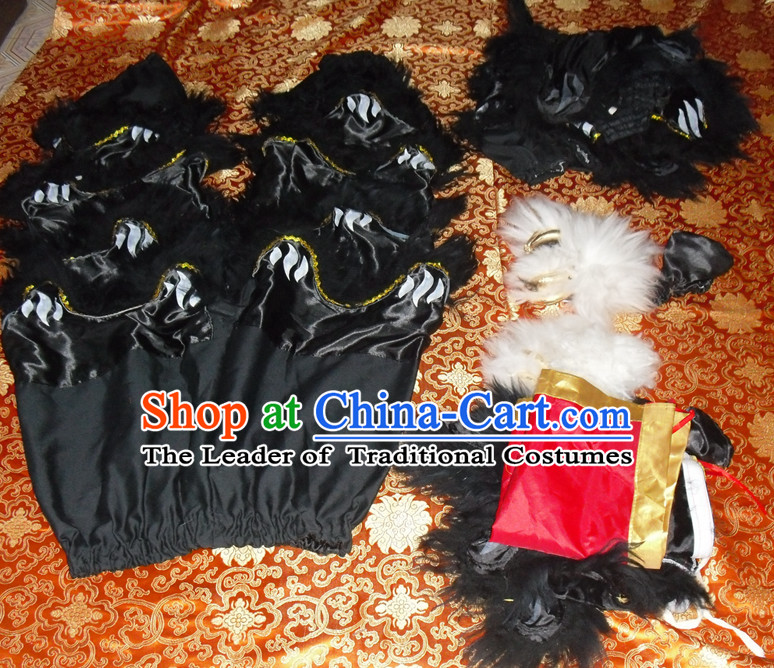 Black Top Asian Chinese New Year Performance 2 Pairs of Lion Dance Pants and Claws