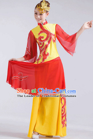 Yellow Chinese Folk Fan Dancewear and Headdress Complete Set for Women