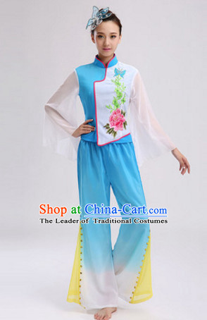 Blue Chinese Folk Fan Dancing Costume and Headdress Complete Set for Women
