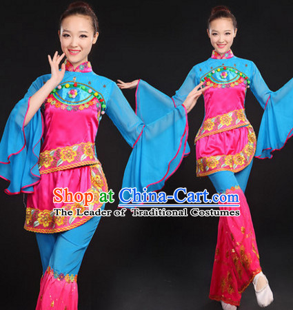 Chinese Folk Dance Costumes Dancewear and Hair Decorations Complete Set for Women or Girls