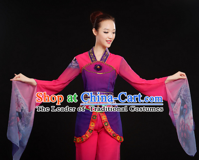 Chinese Water Sleeve Classical Dance Costumes Dancewear and Hair Decorations Complete Set for Women or Girls