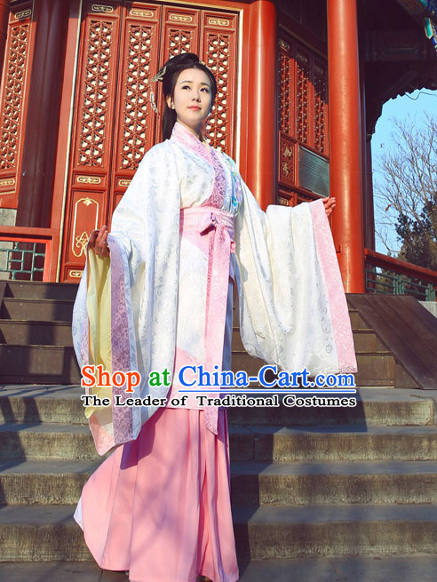 White Pink Chinese Ming Dynasty Clothing and Headdress Complete Set for Women