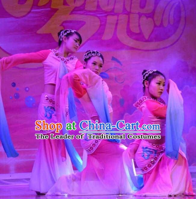Water Sleeve Chinese Stage Performance Classical Dance Costumes and Headdress Complete Set for Women Girls
