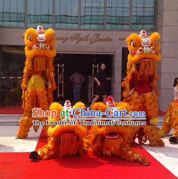 Orange Color Supreme 100% Natural Wool Chinese Southern Lion Dance Equipments Complete Set