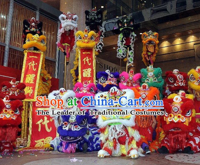 Supreme 100% Long Natural Wool Chinese Southern Lion Dance Equipments Complete Set