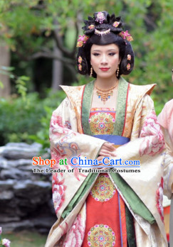 Ancient Chinese Empress Hanfu Garment and Hair Jewelry Complete Set for Women